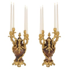 Pair of French 19th Century Louis XV Style Candelabras, Signed F. Linke