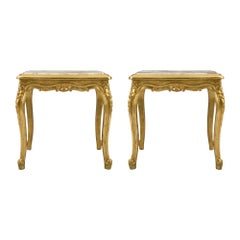 Pair of French 19th Century Louis XV Style Giltwood and Marble Side Tables