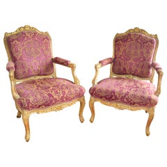"""Pair of French 19th Century Louis XV Style Giltwood Armchairs """"A La Reine"""""""