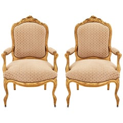 Pair of French 19th Century Louis XV Style Giltwood Armchairs