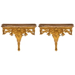 Pair of French 19th Century Louis XV Style Giltwood Consoles/Wall Brackets