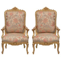 Pair of French 19th Century Louis XV Style Giltwood High Back Armchairs