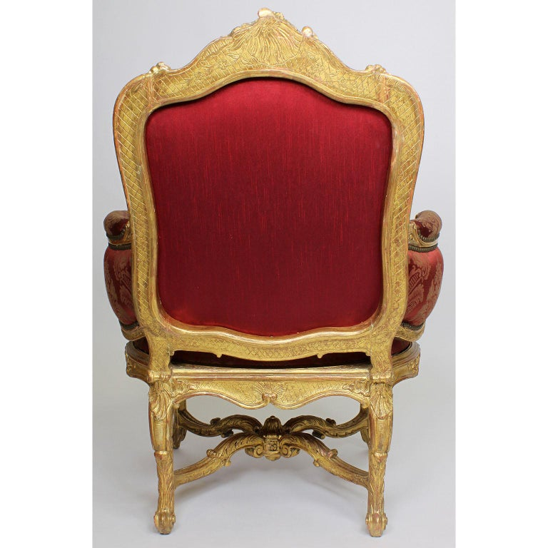 Pair of French 19th Century Louis XV Style Giltwood Marquises Bergère Armchairs For Sale 8