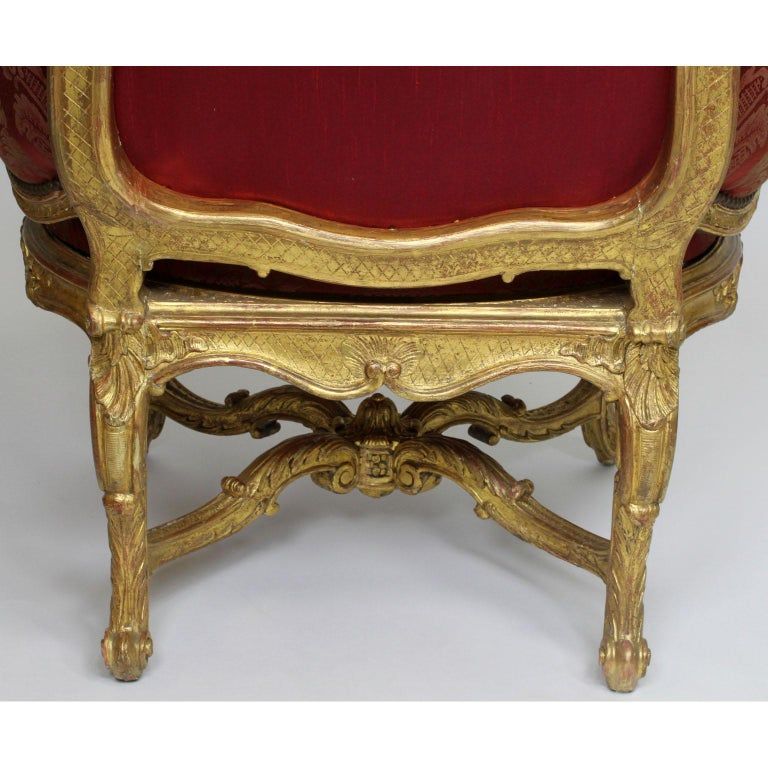 Pair of French 19th Century Louis XV Style Giltwood Marquises Bergère Armchairs For Sale 10