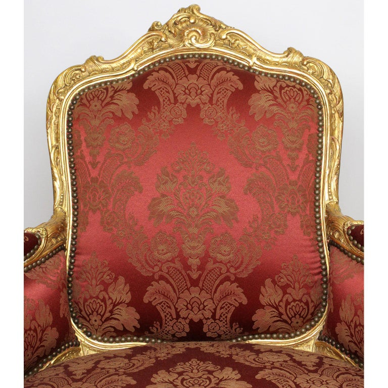Pair of French 19th Century Louis XV Style Giltwood Marquises Bergère Armchairs For Sale 1