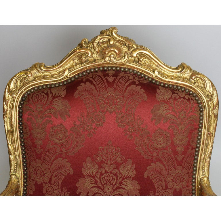 Pair of French 19th Century Louis XV Style Giltwood Marquises Bergère Armchairs For Sale 2