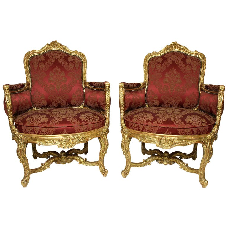 Pair of French 19th Century Louis XV Style Giltwood Marquises Bergère Armchairs For Sale