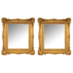 Pair of French 19th Century Louis XV Style Giltwood Mirrors