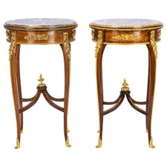 Pair of 19th Century Louis XV Style Gueridon Tables Attributed to François Linke