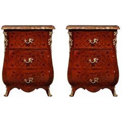 Pair of French 19th Century Louis XV Style Kingwood and Tulipwood Chests