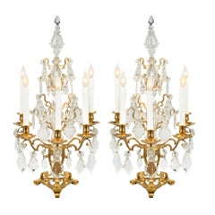 Pair of French 19th Century Louis XV Style Ormolu and Baccarat Girandoles