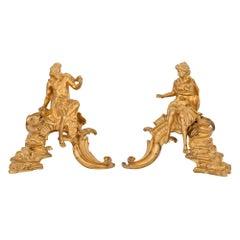 Pair of French 19th Century Louis XV Style Ormolu Andirons