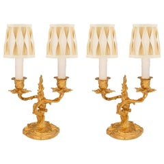 Pair of French 19th Century Louis XV Style Ormolu Candelabra Lamps