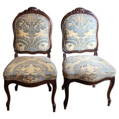 Pair of French 19th Century Louis XV Style Side Chairs Fortuny Fabric Upholster