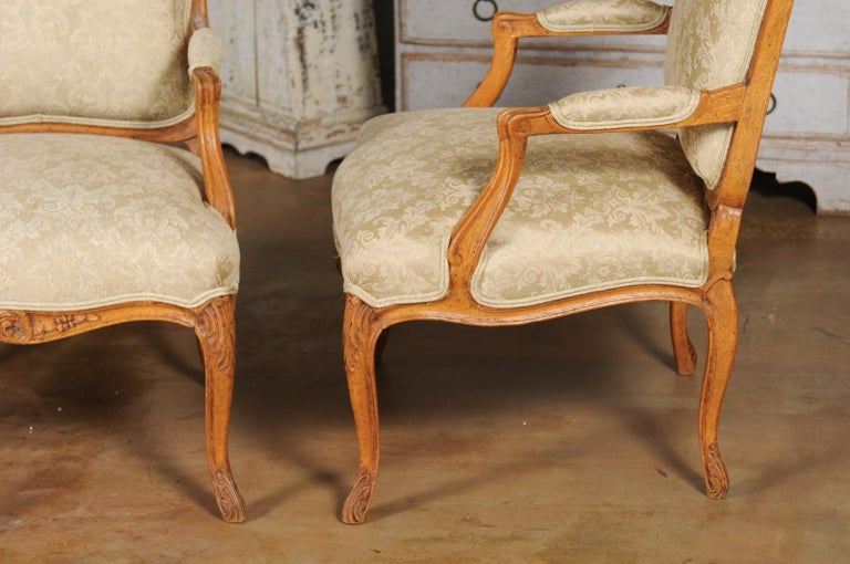 Pair of French 19th Century Louis XV Style Walnut Fauteuils with New Upholstery For Sale 9