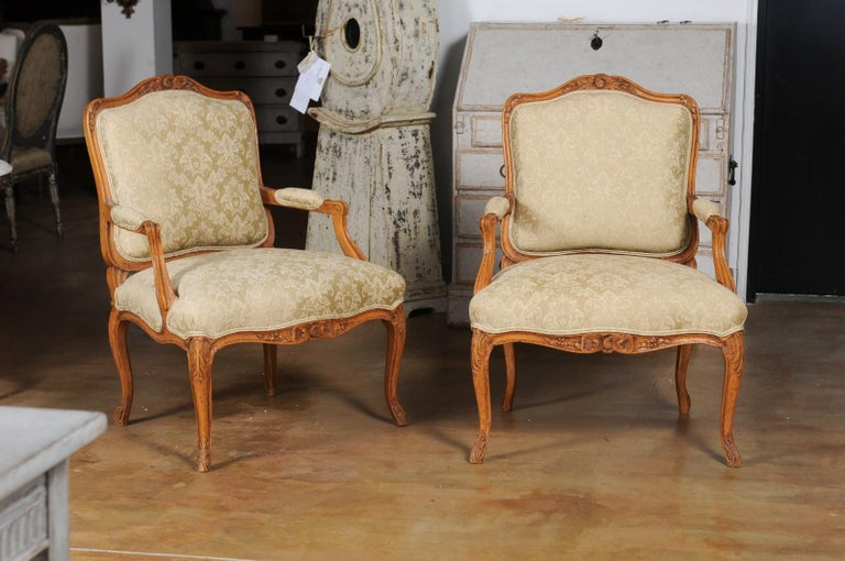 Carved Pair of French 19th Century Louis XV Style Walnut Fauteuils with New Upholstery For Sale