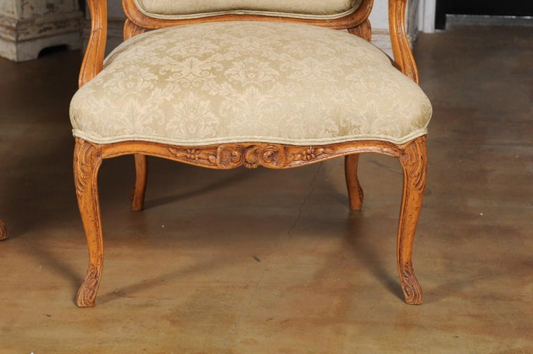 Pair of French 19th Century Louis XV Style Walnut Fauteuils with New Upholstery In Good Condition For Sale In Atlanta, GA