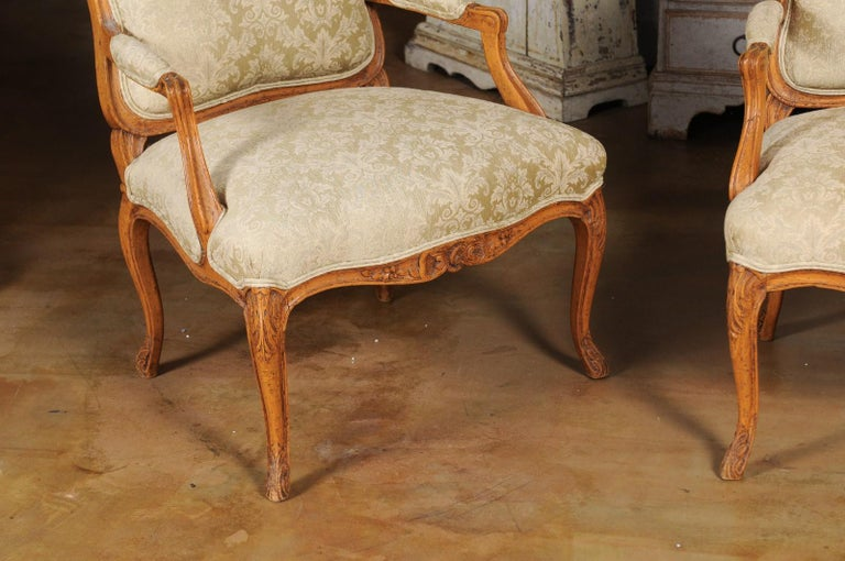 Pair of French 19th Century Louis XV Style Walnut Fauteuils with New Upholstery For Sale 1