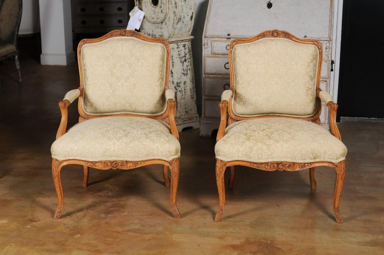 Pair of French 19th Century Louis XV Style Walnut Fauteuils with New Upholstery For Sale 2