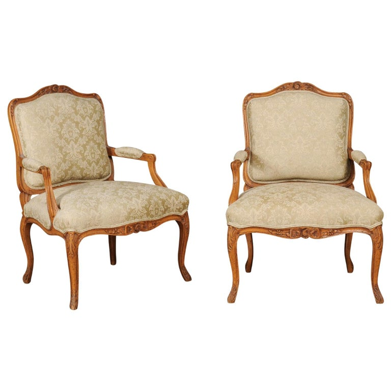 Pair of French 19th Century Louis XV Style Walnut Fauteuils with New Upholstery For Sale