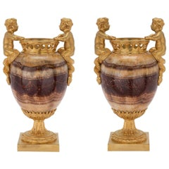 Pair of French 19th Century Louis XVI St. Agate and Ormolu Urns