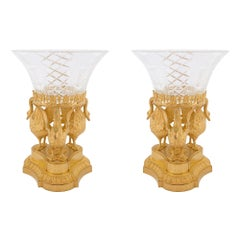 Pair of French 19th Century Louis XVI St. Baccarat and Ormolu Présentoires