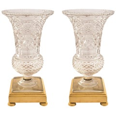 Pair Of French 19th Century Louis XVI St. Baccarat And Ormolu Vases