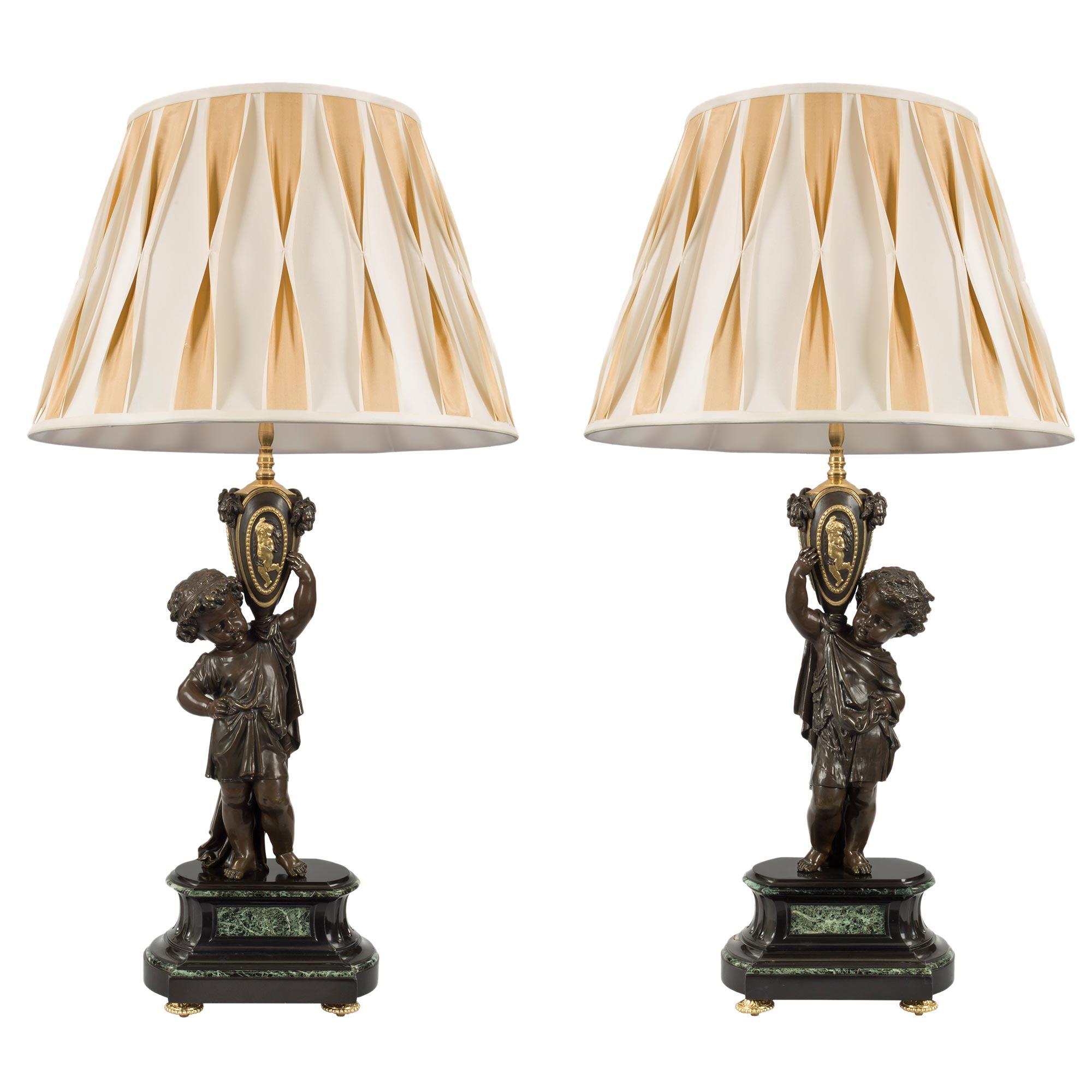 Pair of French 19th Century Louis XVI St. Belle Époque Period Lamps