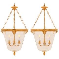 Pair of French 19th Century Louis XVI St. Belle Époque Period Lanterns