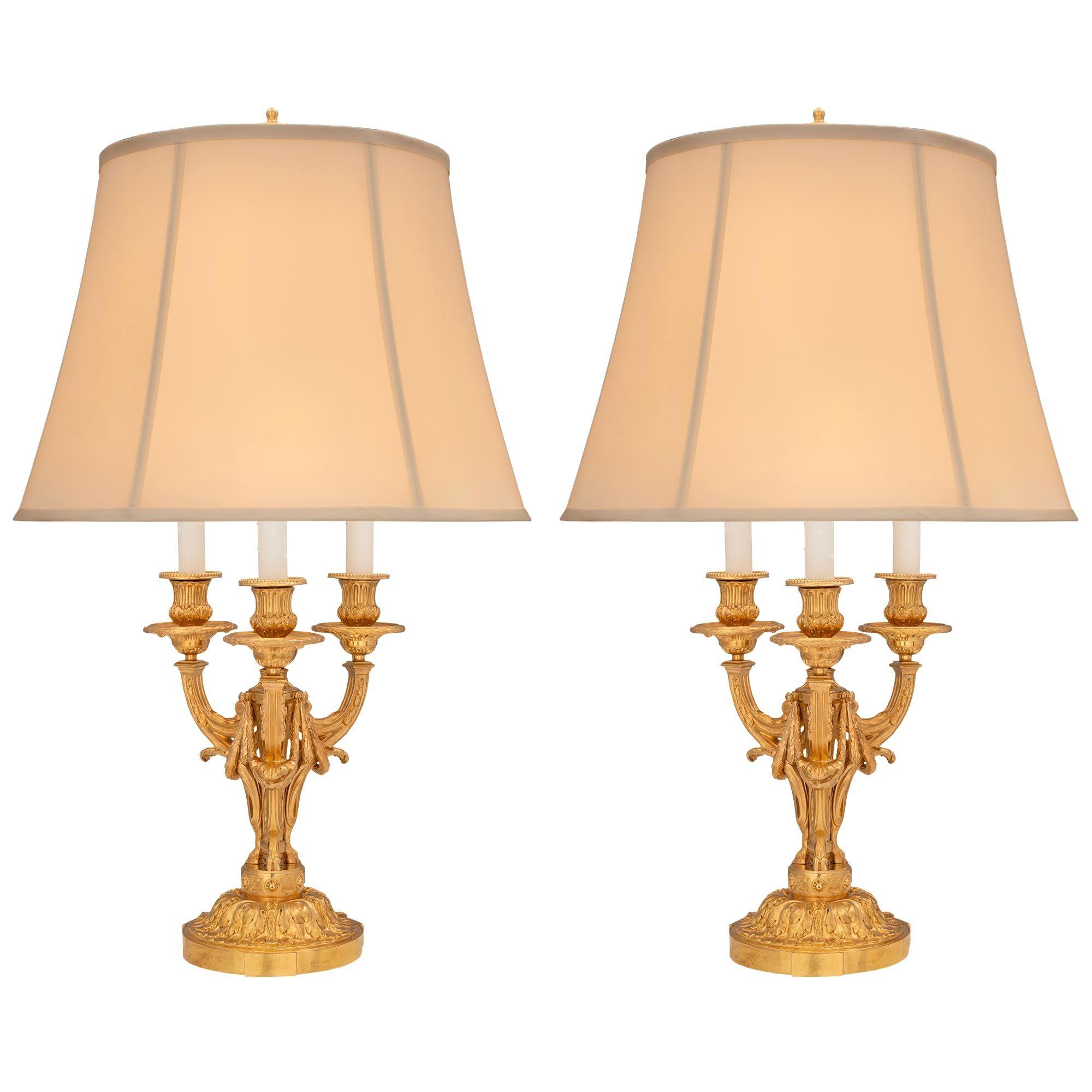 Pair of French 19th Century Louis XVI St. Belle Époque Period Ormolu Lamps