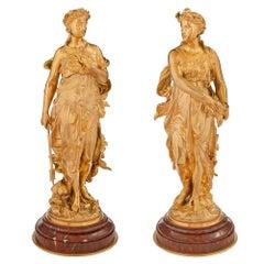 Pair of French 19th Century Louis XVI St. Belle Époque Period Ormolu Statues