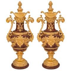 Pair of French 19th Century Louis XVI St. Belle Époque Period Urns