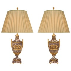 Pair of French 19th Century Louis XVI Style Brèche Marble and Ormolu Lamps