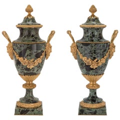 Pair of French 19th Century Louis XVI Style Brèche Verte Marble and Ormolu Urns