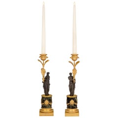 Pair of French 19th Century Louis XVI St. Bronze and Marble Candlesticks