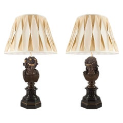 Pair of French 19th Century Louis XVI St. Bronze and Marble Lamps
