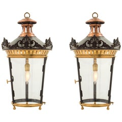 Pair of French 19th Century Louis XVI St. Bronze, Ormolu and Copper Lanterns
