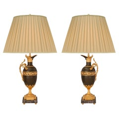 Pair of French 19th Century Louis XVI St. Bronze, Ormolu, and Marble Lamps