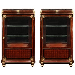 Pair of French 19th Century Louis XVI Style Cabinets with Ormolu Mounts