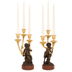 Pair of French 19th Century Louis XVI St. Candelabras, Attributed to Clodion