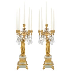 Pair of French 19th Century Louis XVI Style Candelabras, Signed H. Ferrat