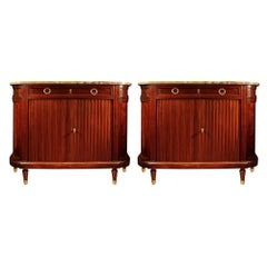 Pair of French 19th Century Louis XVI Style Demilune Mahogany Buffets