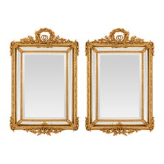 Pair of French 19th Century Louis XVI St. Double Framed Giltwood Mirrors