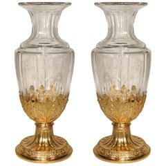 Pair of French 19th Century Louis XVI Style Etched Crystal Vase with Ormolu Base