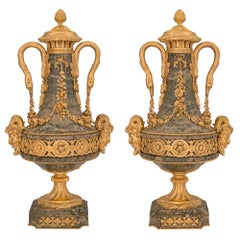 Pair of French 19th Century Louis XVI St. Fluorspar and Ormolu Lidded Urns
