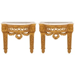Pair of French 19th Century Louis XVI St. Giltwood and Marble Wall Brackets