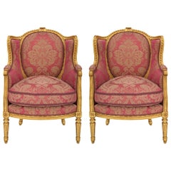 Pair of French 19th Century Louis XVI St. Giltwood Armchairs