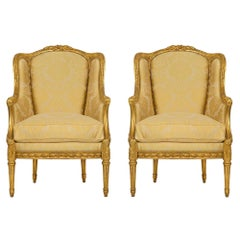 Pair of French 19th Century Louis XVI St. Giltwood Bergère