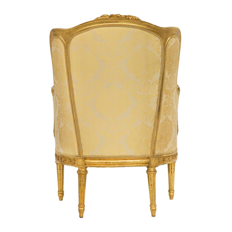 Pair of French 19th Century Louis XVI St. Giltwood Bergère In Excellent Condition For Sale In West Palm Beach, FL