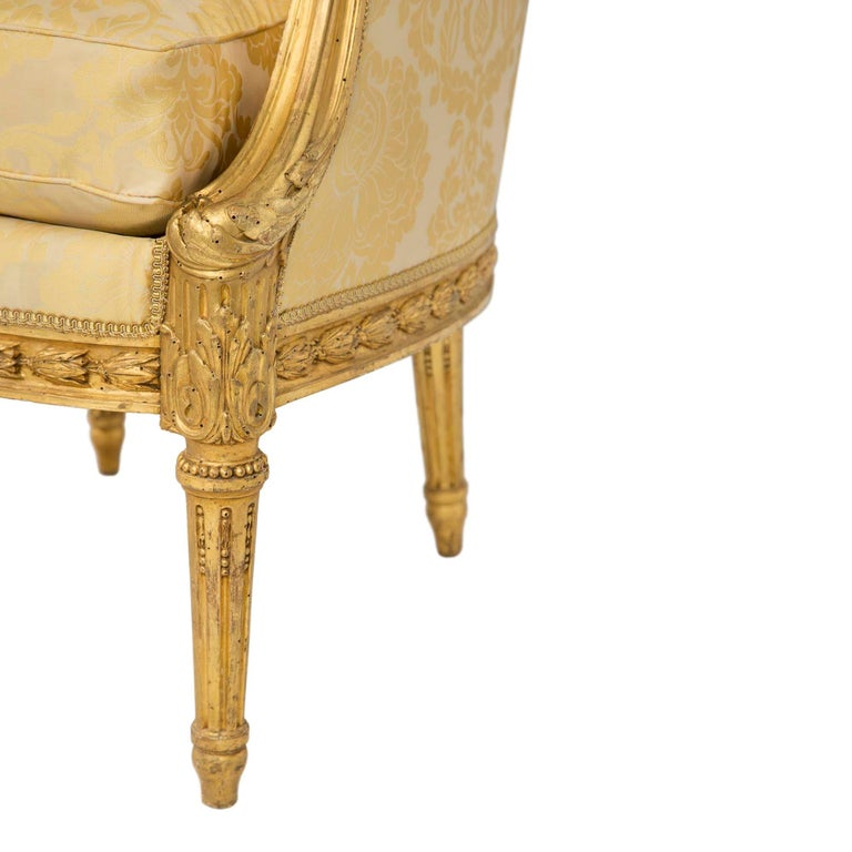 Pair of French 19th Century Louis XVI St. Giltwood Bergères For Sale 2